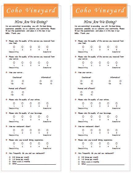 restaurant questionnaire template document templates september 2015