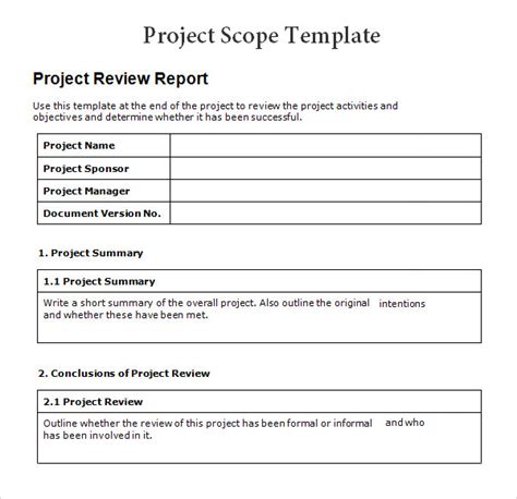 Project Template Document Project 7 Free For Word Pdf