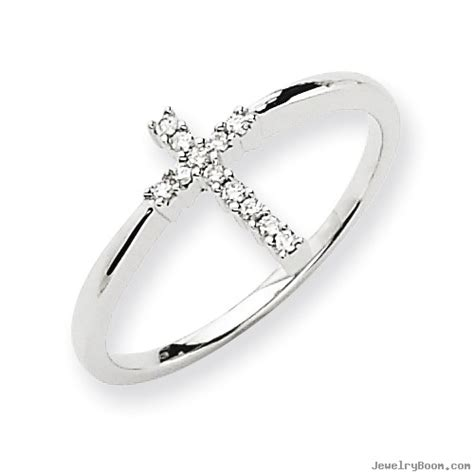 14k white gold cross ring rings