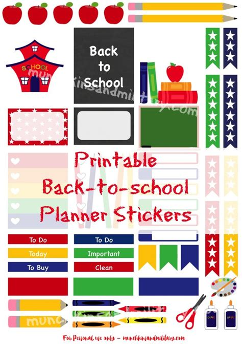 printable school planner stickers back to school planner stickers free printable back to
