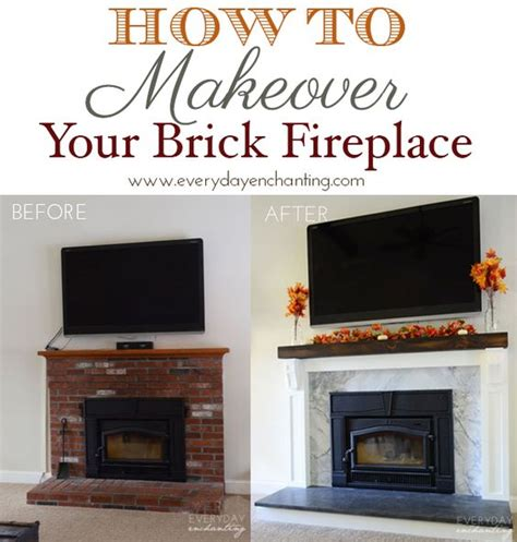 How To Update A Fireplace by How To Cover Your Brick Fireplace Wood Insert Minimal