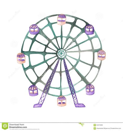 an illustration of a ferris wheel painted in watercolor on a white background stock illustration