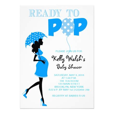 Ready To Pop Baby Shower Invitation ready to pop baby shower invitation blue zazzle