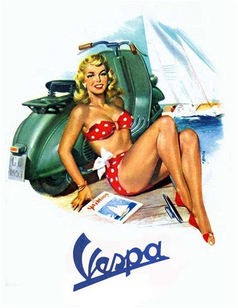 Vespa Vintage Poster vespa vintage pinup quality canvas print retro scooter poster next