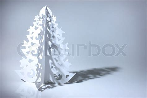 hand made christmas out of paper handmade tree cut out from office paper stock photo colourbox