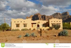 Pueblo House Plans Usa Arizona Adobe House In A Desert Royalty Free Stock