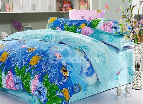 Sea Bedding Sets Colorful Fishes In Sea Print 4 Cotton Duvet Cover Sets