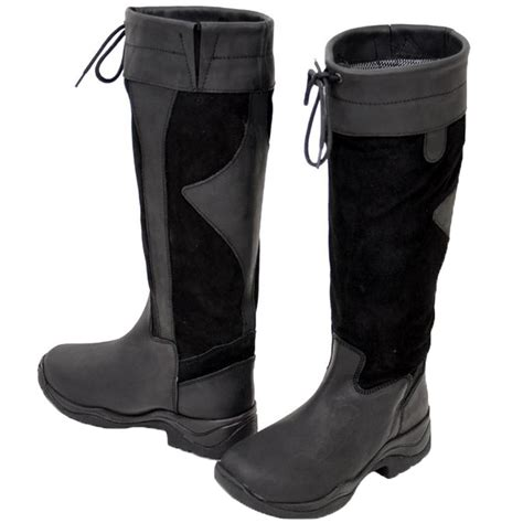 adults black waterproof leather walking