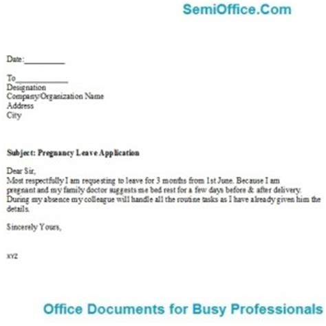 Advance Letter For Maternity Maternity Leave Application Format For Office