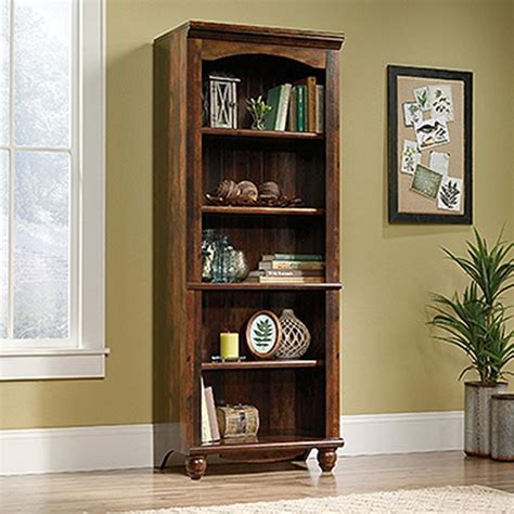 sauder cherry bookcase sauder harbor view curado cherry 5 shelf bookcase 420477