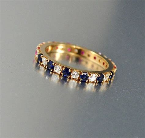 vintage gold ruby sapphire band eternity ring size 5 75 cz