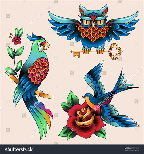 tattoo flash birds set traditional birds tattoo owl parrot stock vector