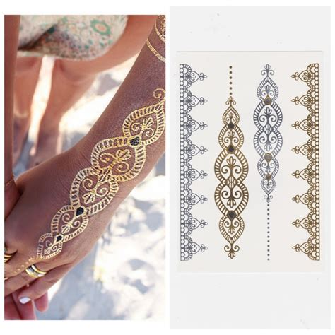 temporary tattoo online buy india fashion temporary metallic tattoo gold silver stickers