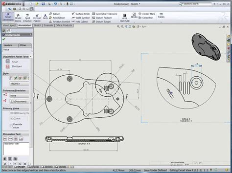 solidworks section view section view detailed view and broken out section view in