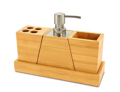 Bathroom Vanity Accessory Sets Bamboo 4 Vanity Set Bathroom Accessory Holder Soap Tray Toothbrush Ebay