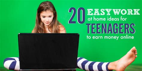 Make Money Online Teenager Ways - 20 free work at home gigs for teens to earn money online