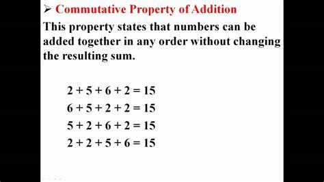 commutative property of addition youtube
