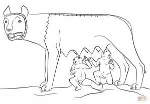 Romulus And Remus With The She Wolf Coloring Page Free And The Wolf Coloring Page3s