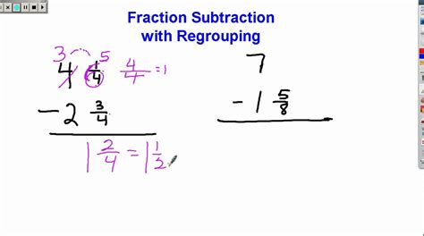 subtraction of dissimilar fractions exles fractions