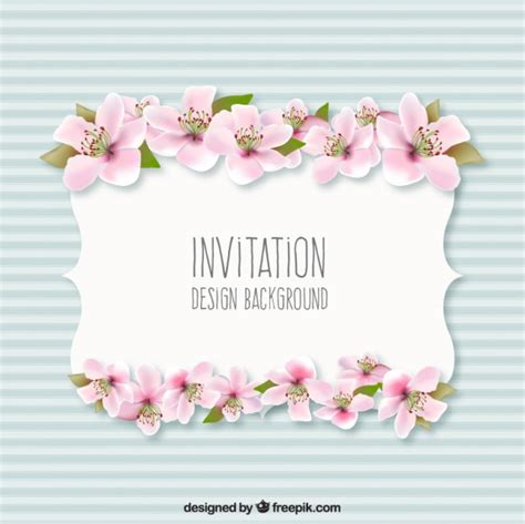invitation background with flowers vector free
