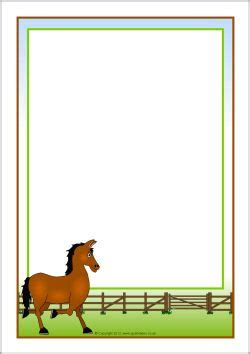 lined paper with horse border horse themed a4 page borders sb7326 sparklebox paper