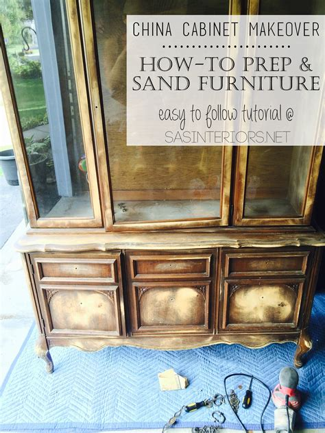 how to prep cabinets for painting china cabinet makeover prepping sanding wood furniture