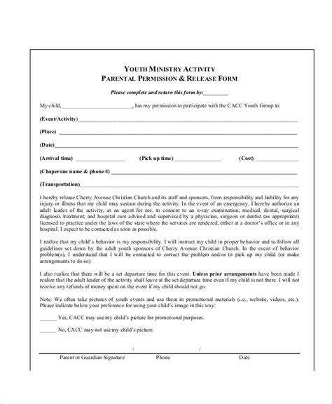 10 Sle Parental Release Forms Sle Templates Parental Release Form Template