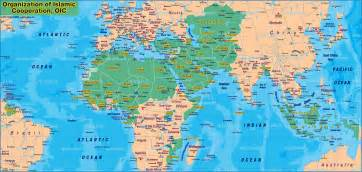 map of islamic countries 57 countries map in the atlas
