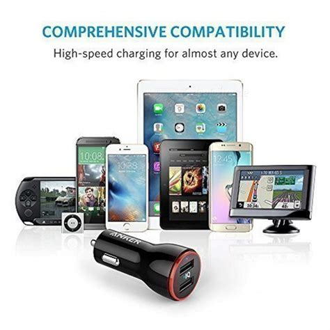 Original Anker A2310611 Powerdrive 2 24w Car Charger 2 Usb Port Fast anker a2310611 4 8a 24w dual usb car charger w led