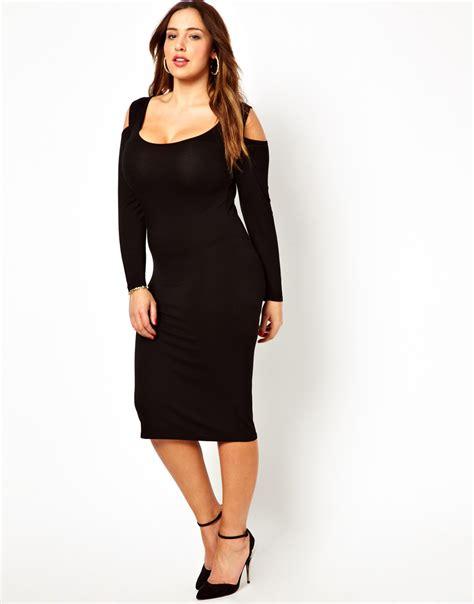 Midi Dress Shoulder Cold Prisya Dress Midi Shoulder Biru Putih Pris asos bodycon midi dress with cold shoulder in black lyst