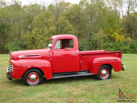 ford truck red 1950 ford pickup f1 restored red