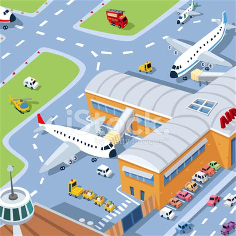 airport terminal with airplanes, cartoon stock vector