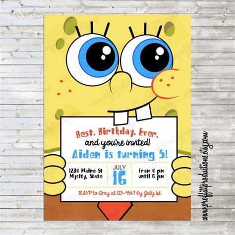 spongebob invitation templates modern spongebob birthday invitation