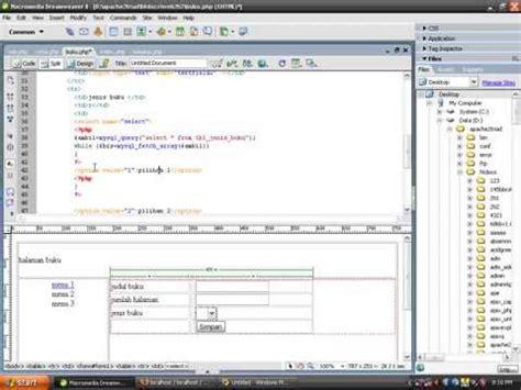 tutorial web menggunakan dreamweaver aplikasi gudang sparepart dengan php doovi