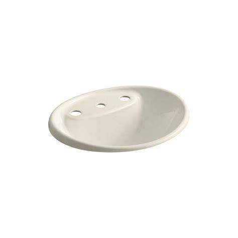 kohler drop in bathroom sink installation kohler tides drop in cast iron bathroom sink in almond