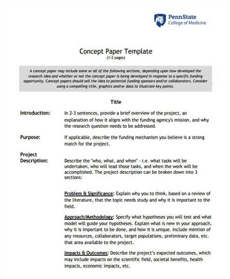 Concept Paper Template For Research