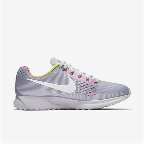 nike air zoom pegasus 34 betrue wolf grey pink blast platinum white nike mens running shoes