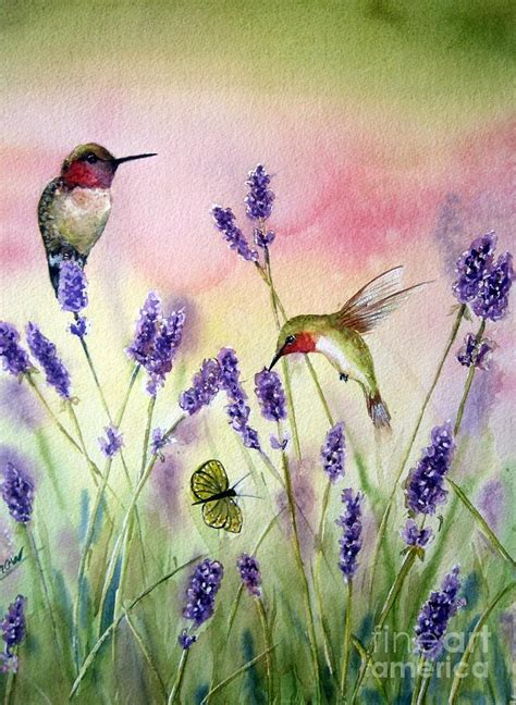 lavender and hummingbirds painting by patricia pushaw