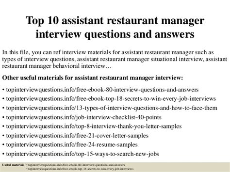 top 10 assistant restaurant manager questions