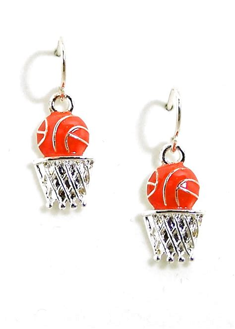 basketball earrings sterling silver basketball hoop