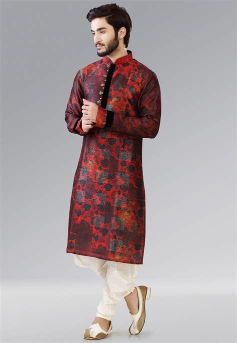 dhoti pattern kurti printed dupion silk dhoti kurta in red mty21