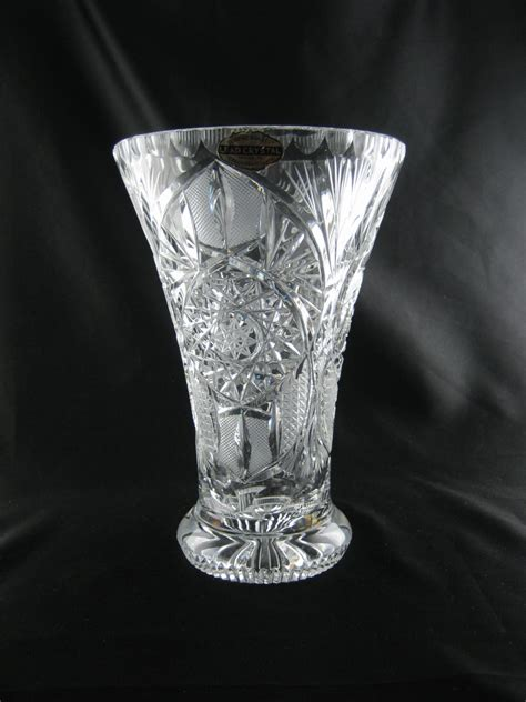 Heavy Glass Vase by Vintage Vase Heavy Thick Glass Pedestal Footed Wedding