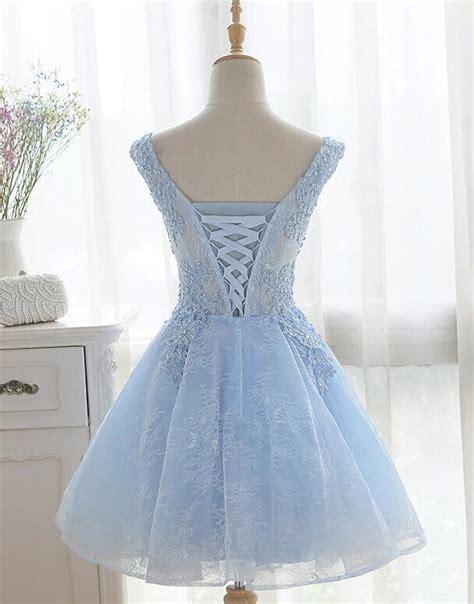 light blue cute  neckline lace short party dress lace