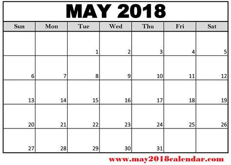 printable calendar for may 2018 may 2018 calendar printable free download all free