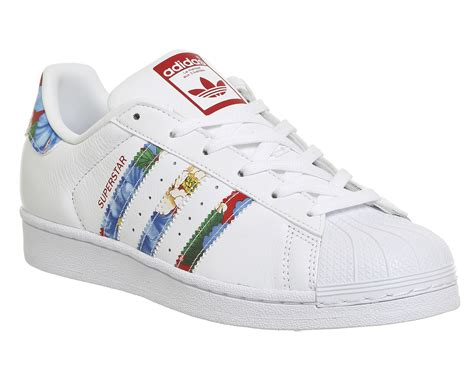 womens adidas superstar 1 white floral trainers shoes