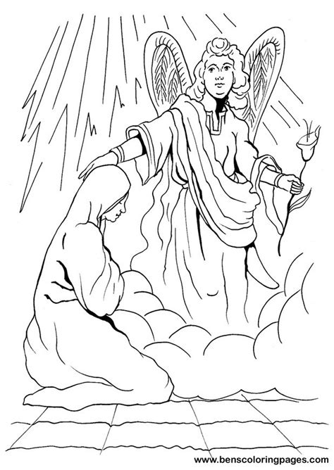 coloring page of angel visiting mary free coloring pages of angel gabriel