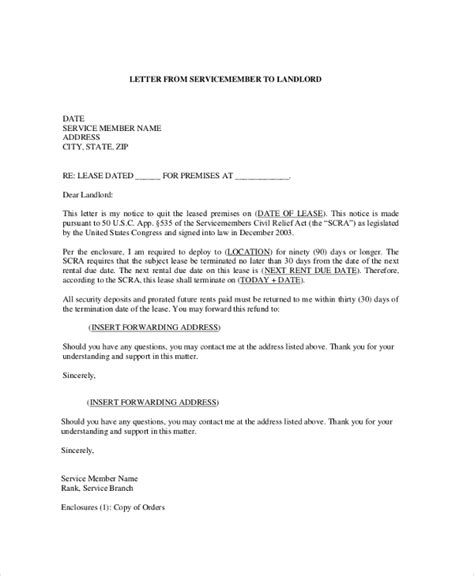 Letter To Landlord To A Lease Sle Termination Letter 9 Exles In Pdf Word