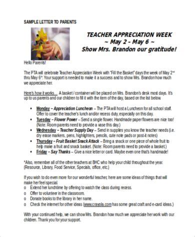 Sample Appreciation Letter Parents teacher appreciation letters 7 free documents in word pdf