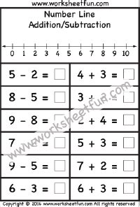 kindergarten number line worksheet addition on a number