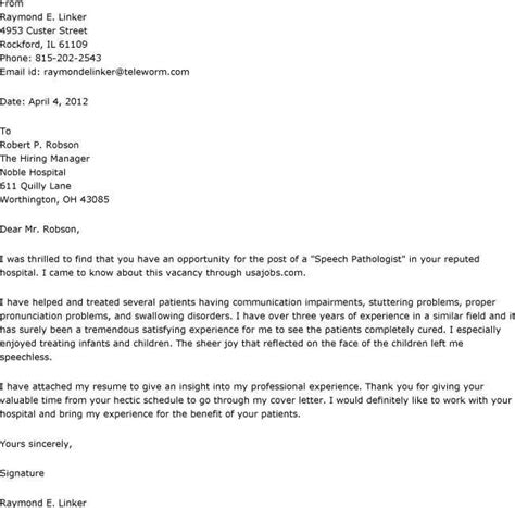 cover letter for language cover letter for speech language pathologist assistant
